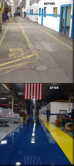 BEFORE and AFTER photos of factory floor